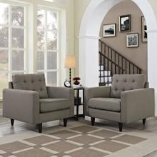 Empress Armchair Upholstered Fabric Set of 2 in Granite