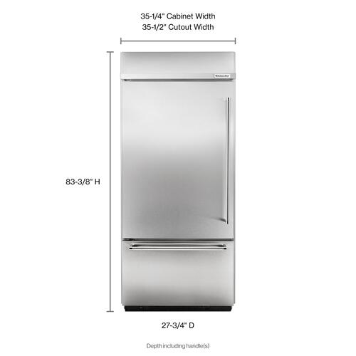 """Product Image - 20.9 Cu. Ft. 36"""" Width Built-In Stainless Bottom Mount Refrigerator with Platinum Interior Design - Stainless Steel"""