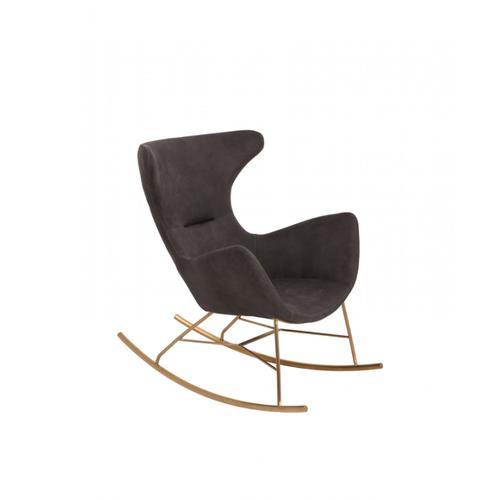 Modrest Cassidy Modern Dark Grey & Gold Rocking Chair