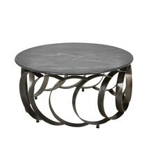 "Iron 36"" Coffee Table W/marbletop, Black"