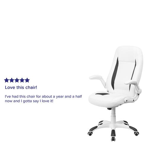 Gallery - High Back White LeatherSoft Executive Swivel Ergonomic Office Chair with Flip-Up Arms