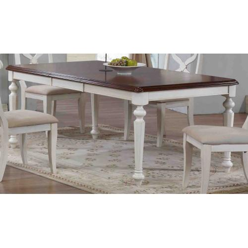 Butterfly Leaf Dining Table - Antique White & Chestnut Finish Top