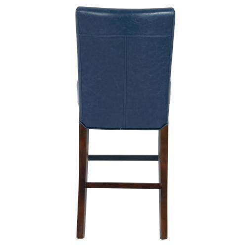 Milton Bonded Leather Counter Stool Wenge Legs, Vintage Blue