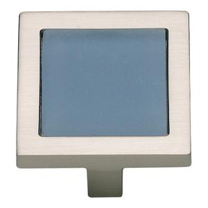 Spa Blue Square Knob 1 3/8 Inch - Brushed Nickel Product Image