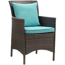 Conduit Outdoor Patio Wicker Rattan Dining Armchair in Brown Turquoise