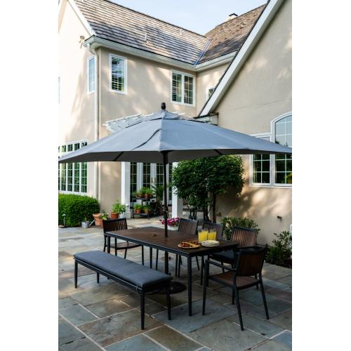 """Oden 78"""" Rect Alum/Polywood Dining Table w/ umbrella hole"""