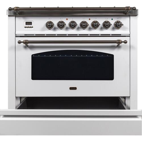 Nostalgie 36 Inch Dual Fuel Natural Gas Freestanding Range in White with Bronze Trim
