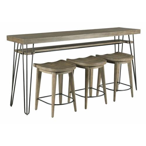BAR CONSOLE WITH THREE STOOLS