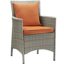 Conduit Outdoor Patio Wicker Rattan Dining Armchair in Light Gray Orange