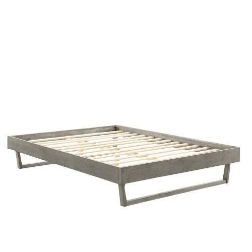 Billie Queen Wood Platform Bed Frame in Gray