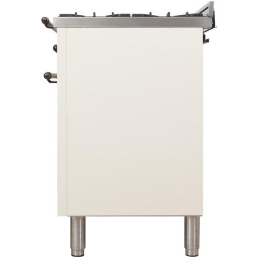 Nostalgie 30 Inch Dual Fuel Liquid Propane Freestanding Range in Antique White with Bronze Trim
