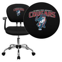 Columbus State University Cougar Embroidered Black Mesh Task Chair with Arms and Chrome Base