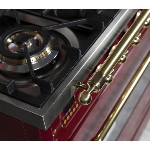 Nostalgie 60 Inch Dual Fuel Natural Gas Freestanding Range in Burgundy with Brass Trim