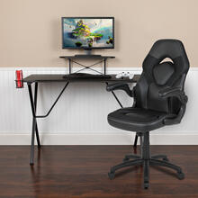 Black Gaming Desk and Black Racing Chair Set with Cup Holder, Headphone Hook, and Monitor\/Smartphone Stand