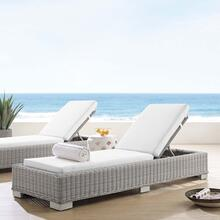 Conway Sunbrella® Outdoor Patio Wicker Rattan Chaise Lounge in Light Gray White