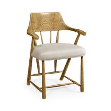 Natural Oak Dining Armchair with Fabric Seat, Upholstered in MAZO