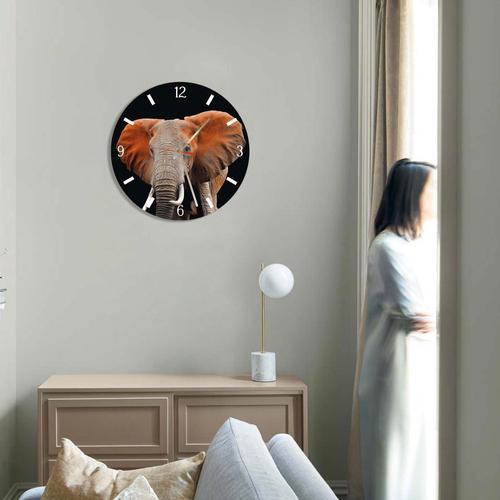 Grako Design - Elephant Round Square Acrylic Wall Clock