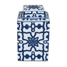 White & Blue Lidded Jar