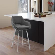 """View Product - Aura Grey Faux Leather and Brushed Stainless Steel Swivel 26"""" Counter Stool"""