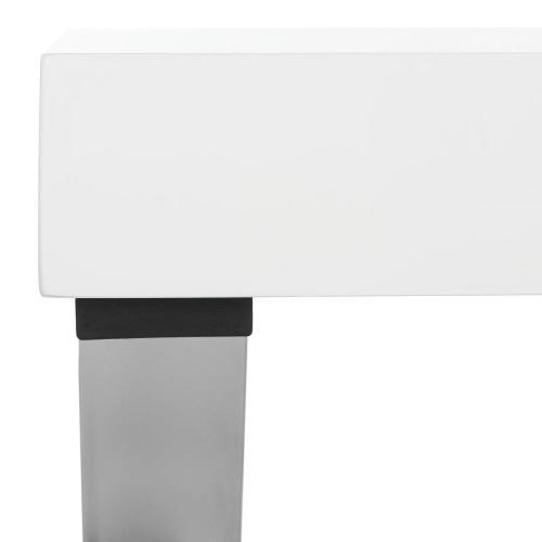 Paley 47'' W One Drawer Lacquer & Chrome Desk - White / Chrome