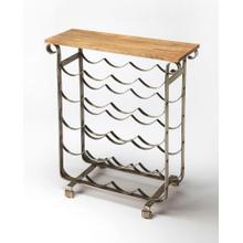 See Details - With a look evoking a classic Napa winery; this wine rack with a mango wood top is a charming addition to your entertaining arsenal. Made from metal and wood with a brushed finish look; this table and rack are perfect for the kitchen; dining room; or home