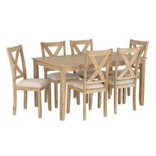 See Details - Langston Light Dining Table and 6 Upholstered Chair Set, Natural