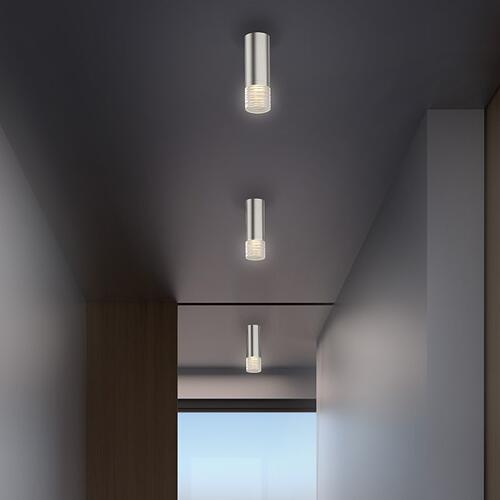 "Sonneman - A Way of Light - ALC LED Surface Mount [Size=2"" Tall, Color/Finish=Polished Chrome w/Etched Ribbon Glass Trim, Lens Type=35u00b0 Medium Flood Lens]"