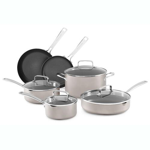 Non-Stick Anodized Aluminum Cookware - 10 Pcs - KitchenAid® Caramel - Cocoa Silver