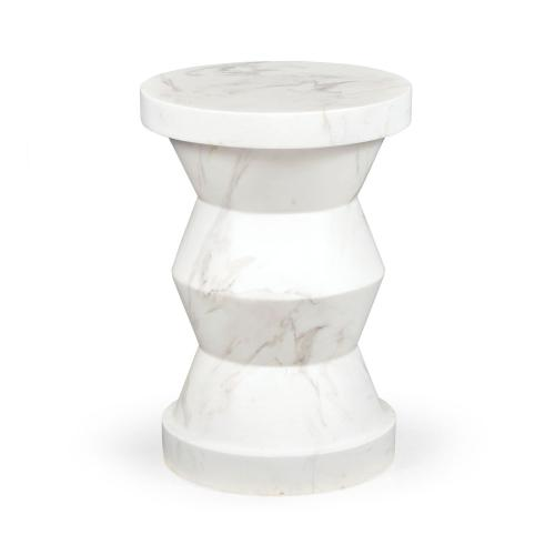 Round Geometric Faux White & Grey Marble Wine Table