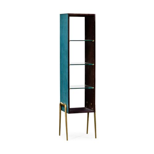 Teal faux shagreen and brass legged etag re