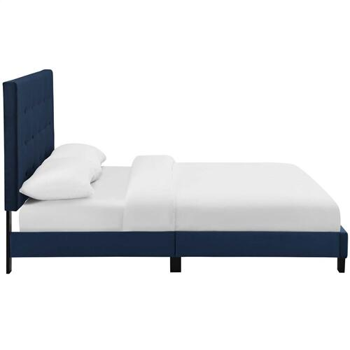 Melanie Queen Tufted Button Upholstered Performance Velvet Platform Bed in Midnight Blue