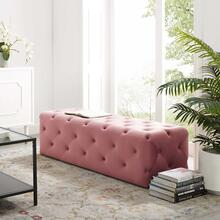 "Amour 60"" Tufted Button Entryway Performance Velvet Bench in Dusty Rose"