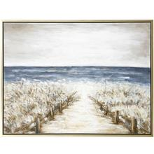 See Details - PATH TO A PEACEFUL PLACE  36in w. X 48in ht.  Framed Coastal Hand Painted Canvas