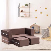 See Details - Critter Sitters Modular Microfiber Sofa for Children's Playroom, Tan, CSCHLDSOFA-TAN