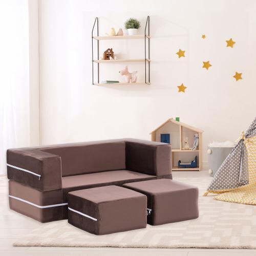 Hanover Outdoor Furniture - Critter Sitters Modular Microfiber Sofa for Children's Playroom, Tan, CSCHLDSOFA-TAN