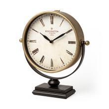 See Details - Houston Gold Metal Half Moon Base Table Clock