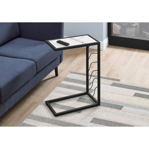 """Gallery - ACCENT TABLE - 25""""H / WHITE MARBLE-LOOK / BLACK METAL"""