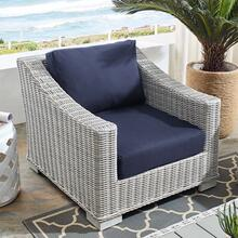 Conway Sunbrella® Outdoor Patio Wicker Rattan Armchair in Light Gray Navy