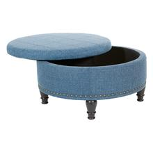 Augusta Storage Ottoman In Blue Fabric