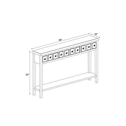 4 Drawer and Lower Shelf Long Console Table, Cream
