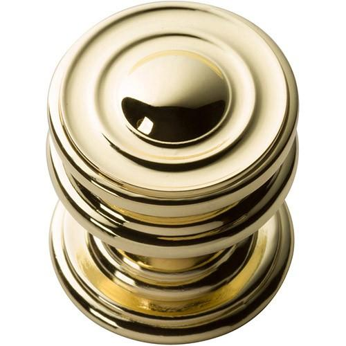 Campaign Round Knob 1 1/4 Inch - Polished Brass