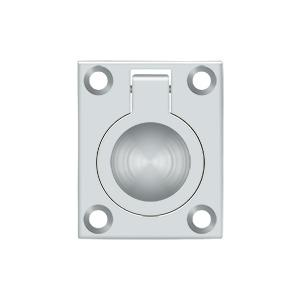 "Flush Ring Pull, 1-3/4"" x 1-3/8"" - Polished Chrome"