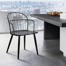 Bradley Steel Framed Side Chair in Black Powder Coated Finish and Black Brushed Wood