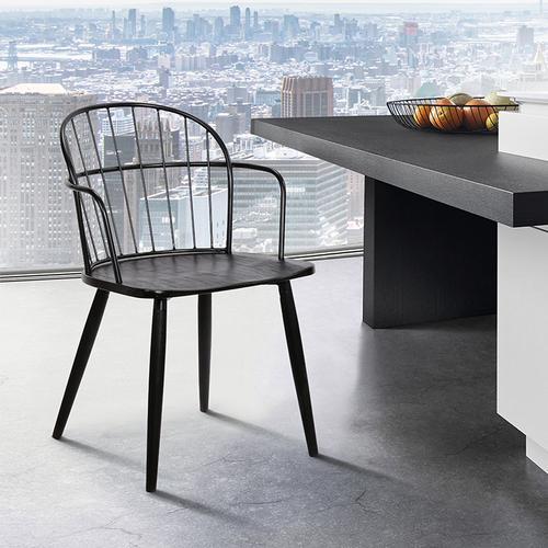 Bradley Steel Framed Side Chair in Black Powder Coated Finish and Black Brushed Wood