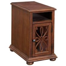 Chairside Cabinet with open storage for remotes single door has carved overlay above glass. Back ha