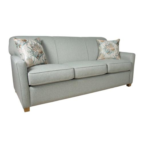 """Capris Furniture - 3 over 3 Comfort-Lux seat cushions with tight back Sofa w/ 2-1/2"""" Cube legs available in Caramel, Black Cherry, Frost, Driftwood or Walnut finish."""