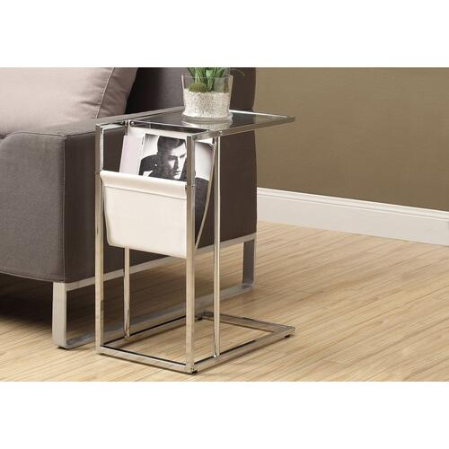 Gallery - ACCENT TABLE - WHITE / CHROME METAL WITH A MAGAZINE RACK