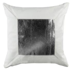 Tinsley Cowhide Pillow - White / Silver
