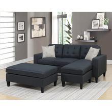 Etzel 3pc Sectional Sofa Set, Black