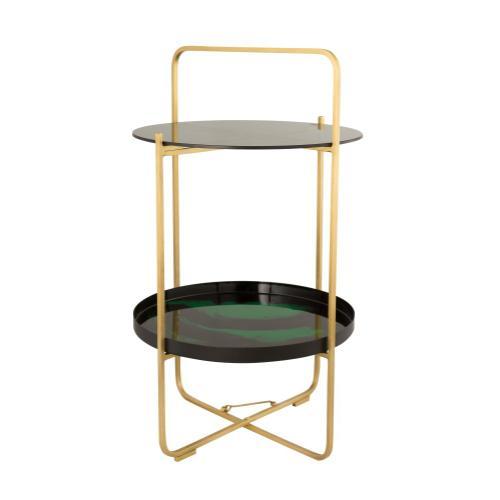 Enamel Black/Green Side Table